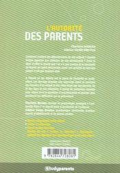 L'autorite des parents - 4ème de couverture - Format classique