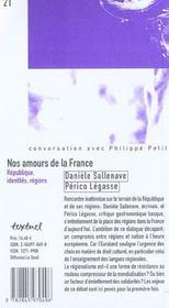 Nos amours de la france ; république, identités, régions - 4ème de couverture - Format classique