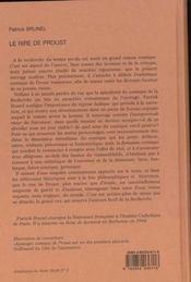 Le Rire De Proust - 4ème de couverture - Format classique
