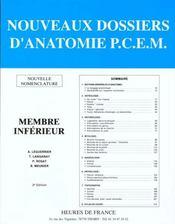Nouveaux Dossiers D'Anatomie ; Membre Inferieur - Intérieur - Format classique
