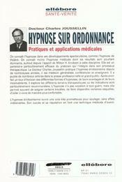 Hypnose Sur Ordonnance - Appl. Medicale - 4ème de couverture - Format classique
