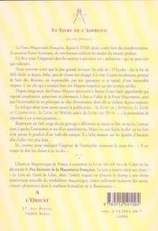 Livre De L'Apprenti - 4ème de couverture - Format classique
