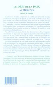 Le Defi De La Paix Au Burundi ; Theorie Et Pratique - 4ème de couverture - Format classique