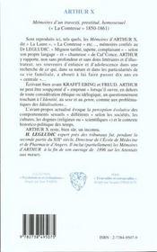 Arthur X ; mémoires d'un travesti prostitué homosexuel - 4ème de couverture - Format classique