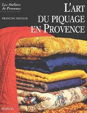 L'art du piquage en Provence - Couverture - Format classique