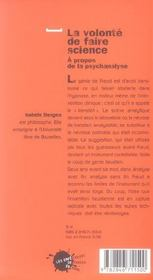 Volonte De Faire Science. A Propos De La Psychanalyse (La) - 4ème de couverture - Format classique