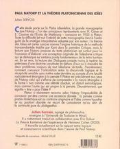 Paul Natorp Et La Théorie Platonicienne Des Idées - 4ème de couverture - Format classique
