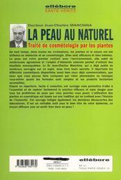 La peau au naturel ; traité de cosmétologie par les plantes - 4ème de couverture - Format classique