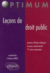 Lecons De Droit Public Instituts D'Etudes Politiques Concours Administratifs 1er Cycle Universitaire - Intérieur - Format classique