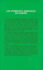 Les syndicats agricoles en europe - 4ème de couverture - Format classique