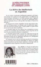 Le Role Politique Des Intellectuels En Amerique ; La Derive Des Intellectuels En Argentine - 4ème de couverture - Format classique