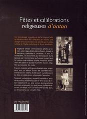 Fêtes et célébrations religieuses d'antan - 4ème de couverture - Format classique