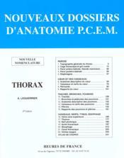 Nouveaux Dossiers D'Anatomie P.C.E.M. ; Thorax - Couverture - Format classique
