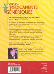 Guide Des Medicaments Generiques - 4ème de couverture - Format classique