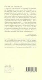 Leo Ferre, Une Vie D'Artiste (Nouvelle Edition) - 4ème de couverture - Format classique