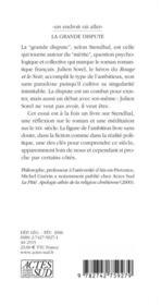 La Grande Dispute ; Essai Sur L'Ambition, Stendhal Et Le Xix Siecle - 4ème de couverture - Format classique