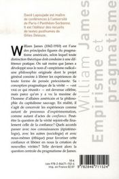 William james ; empirisme et pragmatisme - 4ème de couverture - Format classique