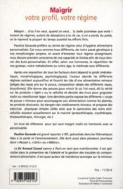 Maigrir - Votre Profil, Votre Regime - Couverture - Format classique