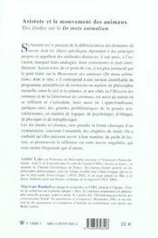 Aristote Et Le Mouvement Des Animaux 10 Etudes Sur Le Notu Animalium - 4ème de couverture - Format classique