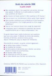 Droit des salaries 2000 - 4ème de couverture - Format classique