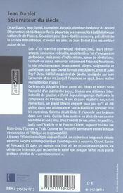 Jean Daniel - Observateur Du Siecle - 4ème de couverture - Format classique