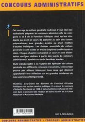 Culture Generale Themes Fondamentaux Et Sujets Corriges Categories A Et B Ecrit Et Oral - 4ème de couverture - Format classique