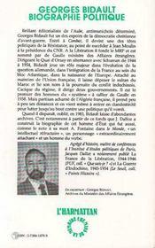 Georges Bidault, biographie politique - 4ème de couverture - Format classique