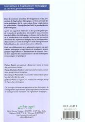 Conversion à l'agriculture biologique, le cas de la production laitière - 4ème de couverture - Format classique