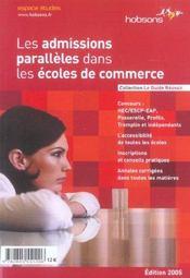 Les Admissions Paralleles Dans Les Ecoles De Commerce - Intérieur - Format classique