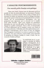 L'analyse postmoderniste ; une nouvelle grille d'analyse socio-politique - 4ème de couverture - Format classique
