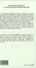 Tahar Ben Jelloun Ou L'Inassouvissement Du Desir Narratif - 4ème de couverture - Format classique