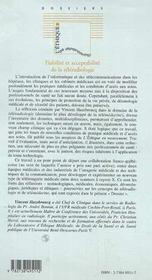 Fiabilite Et Acceptabilite De La Teleradiologie - 4ème de couverture - Format classique