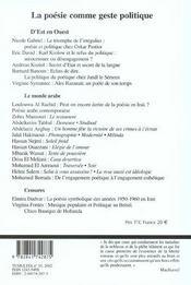 Tumultes n19 poesie comme geste politique - 4ème de couverture - Format classique