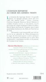 L'Ecrivain-Reporter Au Coeur Des Annees Trente - 4ème de couverture - Format classique