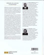 Methodes De Recherche En Psychologie - 4ème de couverture - Format classique