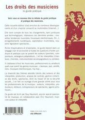 LE DROIT DES MUSICIENS - Le guide pratique. - 4ème de couverture - Format classique