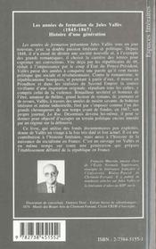 Les Annees De Formation De Jules Valles 1845-1867 - 4ème de couverture - Format classique