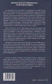 Protocole Et Ceremonial Parlementaires - 4ème de couverture - Format classique