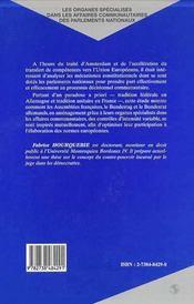 Les Organes Specialises Dans Les Affaires Communautaires Des Parlements Nationaux ; Les Cas Francais Et Allemand - 4ème de couverture - Format classique