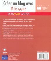 Creer un blog avec blogger - 4ème de couverture - Format classique