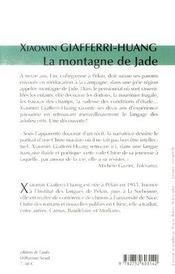 La montagne de jade - 4ème de couverture - Format classique
