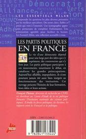Les partis politiques en france - 4ème de couverture - Format classique