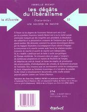 Les dégâts du libéralisme ; Etats-Unis : une société de marché - 4ème de couverture - Format classique