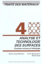 Analyse et technologie des surfaces ; traité des matériaux t.4 - Intérieur - Format classique