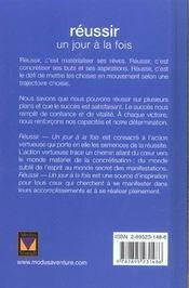 Reussir Un Jour A La Fois - 4ème de couverture - Format classique