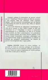 Moderniser La Politique : Aux Origines De La Ve Republique - 4ème de couverture - Format classique