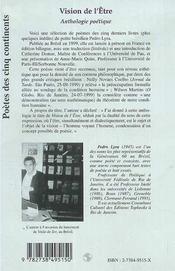 Vision De L'Etre ; Anthologie Poetique - 4ème de couverture - Format classique