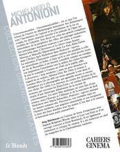 Michelangelo Antonioni - 4ème de couverture - Format classique