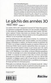 Le gâchis des années 30 t.1 ; 1933-1937 - 4ème de couverture - Format classique