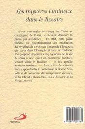 Mysteres lumineux (les) dans le rosaire - 4ème de couverture - Format classique